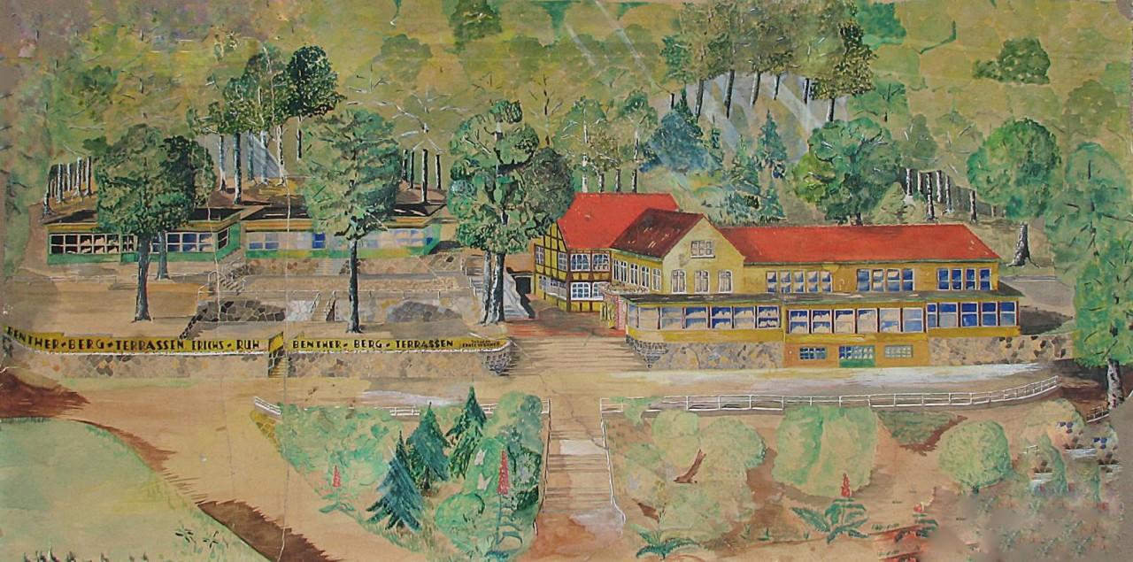 Gemälde der Benther Berg-Terrassen (nach dem Brand von 1975 aus der Ruine gerettet)