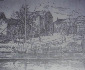"""Alter Hafen an der Ihme (Ausschnitt aus """"Honovere"""" von Wilhelm Winkel, Band 3)."""