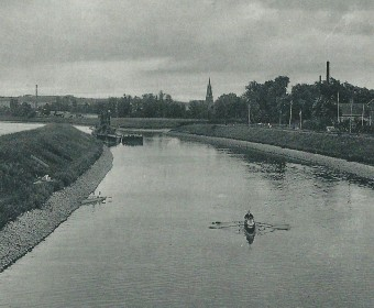 "Hannover-Limmer: Kanal mit Ausflugslokal ""Mühlen-Park"", um 1930"
