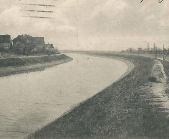 Partie an der Limmer-Kirche mit Kanal (links) und Leine, um 1916