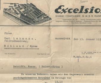 Rechnung Excelsior, 1931