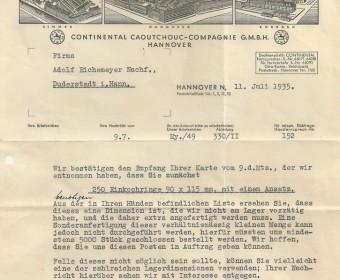 Schreiben, 1935, Continental hat 250 Einkochringe nicht mehr auf Lager