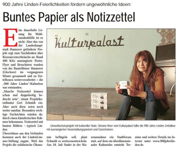 Lindenspiegel berichtet über 900 Jahre Linden Zettelbox